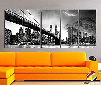 Original by BoxColors XLARGE 30 x 70  5 Panels 30 x14  Ea Art Canvas Print beautiful Brooklyn Bridge Skyline night New York Black & White Wall Home decor  framed 1.5  depth