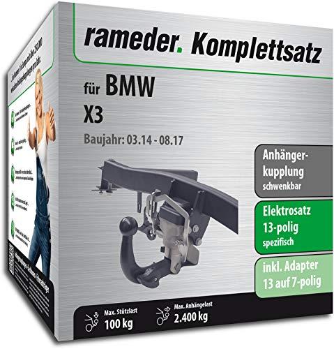Rameder Komplettsatz, Anhängerkupplung schwenkbar + 13pol Elektrik für BMW X3 (123737-08763-3)