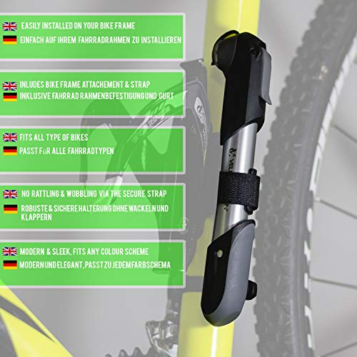 VeloChampion Legierung 7 Kleine Fahrradpumpe – Passt auf Presta & Schrader (Zweiseitige Valve) mit 100 PSI / 6.9 bar Maxer Druck– Tragbar, Kompakt, Langlebig, Schnell Und Einfach Zu Bedienen - 4