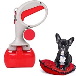 FXQIN Pet Pooper Scooper Portable, Dog Waste Scoop, Outdoor Waste Picker Pet Poop Clamp, Easy to Use, Suitable for Grass and Gravel, Red