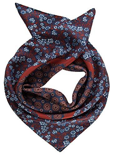 """Elizabetta Men's Italian Silk Neckerchief Scarf, Large Bandana, 26"""", Blue"""