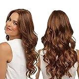 DFGDF Pelucas de pelo sintético largo de onda natural marrón resistente al calor para mujeres Raíces oscuras marrón pelo sintético Pelucas con flequillo para mujeres señora Cosplay fiesta peluca