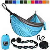 Gold Armour Camping Hammock - Extra Large Double Parachute Hammock (2 Tree Straps 16 Loops,10 ft Included) USA Brand Lightweight Nylon Mens Womens Kids, Camping Accessories Gear (Sky Blue/Gray)