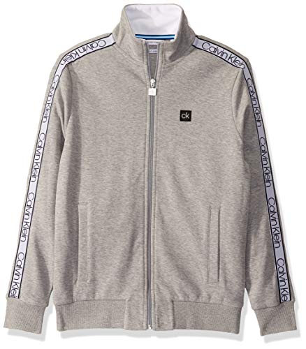 Calvin Klein Men's Athleisure Logo Full Zip Sweatshirt, Heroic Grey Heather, X-Large