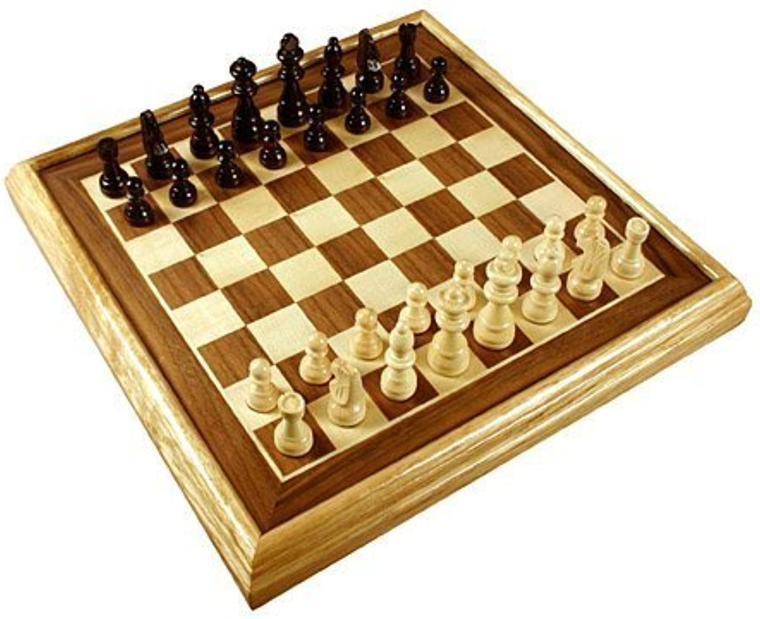 16  Deluxe Inlaid Wood Chess Set w Pieces by Da Vinci