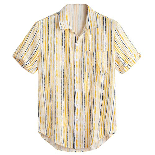 Buy YKARITIANNA Men's Breathable Stripe Summer Short Sleeve Loose Buttons Casual Shirt Blouse 2019 S...