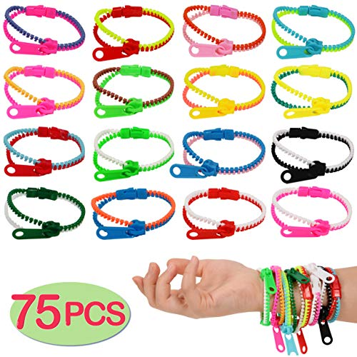 75-Pack Party Zipper Bracelets SetFriendship Fidget Bracelets 75 Inches Sensory Toys Party Pack By SephireREXStress Relief Toys for Birthday Party FavorsKilling Time ADHD