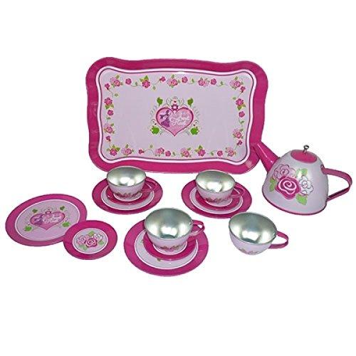Puppen-Teeservice | Kinder-Kaffeeservice aus Porzellan PW 2179 | Sweat-Heart Herzchen-Design | mit Tablett, Kanne, Tassen und Teller |Holzspielzeug-Peitz