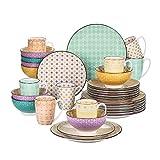 Vancasso Tafelservice Porzellan, Tulip Elegantes Geschirrset, 32 teilig Kombiservice Serie Mandala, mit Speiseteller, Dessertteller, Müslischalen und Kaffeebecher für 8 Personen