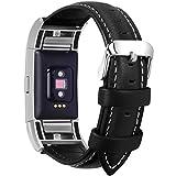 Fullmosa Compatible Bracelet Fitbit Charge 2 Cuir, Compatible Fitbit Charge 2 Bracelet Sport avec Métal Connecteurs pour...