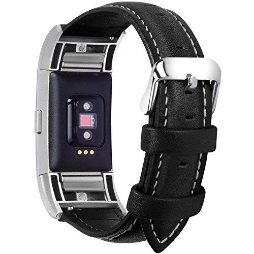Fullmosa kompatibel mit Fitbit Charge 2 Armband für Damen und Herren,Leder Ersatz Uhrenarmbänder für Fitbit Charge2,Schwarz