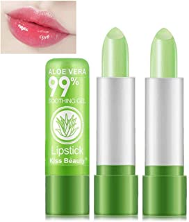 2 Pack Aloe Vera Lipstick, Firstfly Long Lasting Nutritious Lip Balm Lips Moisturizer Magic Temperature Color Change Lip Gloss (Green)