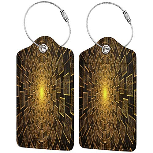 FULIYA - Juego de 2 etiquetas de cuero de alta gama para maletas, identificador de viaje para bolsos y equipaje, para hombres y mujeres, cubos, formas, rotación, dorado