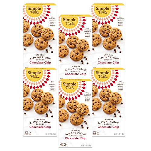 Simple Mills Almond Flour Chocolate Chip Cookies, Gluten Free and Delicious Crunchy Cookies, Organic Coconut Oil, Good for Snacks, Made with whole foods, 6 Count (Packaging May Vary)