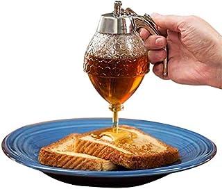 Dispensador de miel con soporte, acrílico a prueba de roturas, jarabe de jarabe de miel, dispensador de miel sin goteo, dispensador de miel – Tarro de miel reutilizable 8 oz