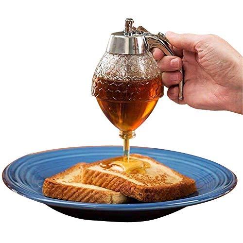 Dispensador de miel, tarro de miel, recipiente de miel, sin jarabe de goteo y tarro de azúcar, dispensador de jarabe de miel con soporte, hermosa olla de miel en forma de peine de miel, 8 onzas