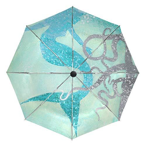 Ombrello da viaggio piccolo Antivento da esterno per pioggia Sun UV Auto Compatto 3 pieghe Ombrelli Cover - Sirena e polpo