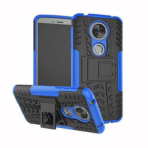 TiHen Handyhülle für Motorola Moto E5 Plus Hülle, 360 Grad Ganzkörper Schutzhülle + Panzerglas Schutzfolie 2 Stück Stoßfest zhülle Handys Tasche Bumper Hülle Cover Skin mit Ständer -Blau
