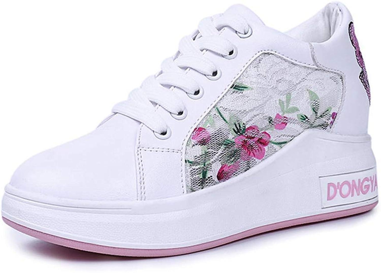Fashion shoesbox Women's Fashion Sneakers Casual Lace up Flat High Top Increasing Height Hidden Heel Wedges Platform shoes