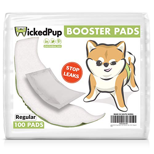 WICKEDPUP Dog Diaper Liners Booster Pads for Male and Female Dogs, 100ct   Disposable Doggie Diaper Inserts fit Most Reusable Pet Belly Bands, Cover Wraps, and Washable Period Heat Panties Pants