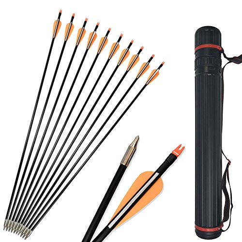 SHARROW 12pcs Flechas de Fibra de Vidrio de Tiro con Arco de 31 Pulgadas Flecha de Práctica Spine 500 con Carcaj de Flechas para Arco Recurvo (Naranja)