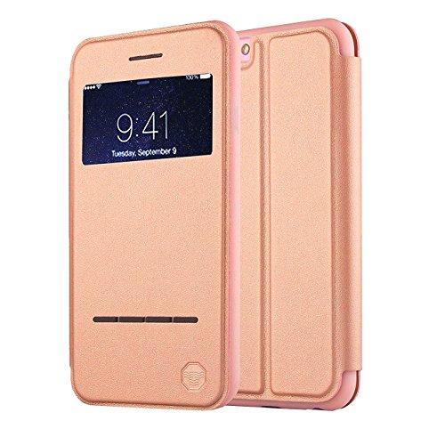 NOUSKE Funda Inteligente con Ventana y Barra de Botones iPhone 6 Plus y 6S Plus de 5.5 Pulgadas de Apple,Oro Rosa