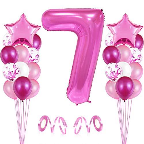 Bluelves 7er Cumpleaños Globos, Decoración de cumpleaños 7 en Rosas, Feliz cumpleaños Decoración Globos 7 Años, Globos Numeros para Fiestas,Globos de Aluminio para Niñas