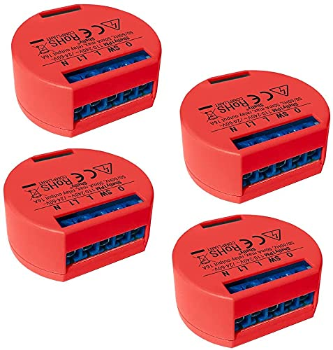 Shelly 1 One PM Smart Relay Switch WiFi Open Source Wireless Home Automation iOS Android Application (4 Pack) NON UL