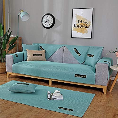 YUTJK El sofá de Seda de Hielo de Verano se Puede Lavar,Funda de Sofá/Funda de sofá Antideslizante/Funda de Sofá/Lavable/Antiácaros/Antiarrugas,Verde_70×180cm