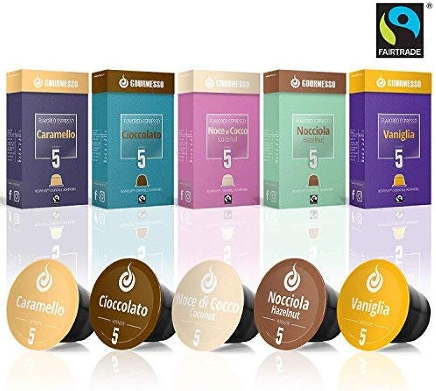 50 Fairtrade Flavored Coffee Capsules Compatible With Original Nespresso Machines Flavored Coffee Pods For Nespresso Machines Gourmesso Flavor Bundle
