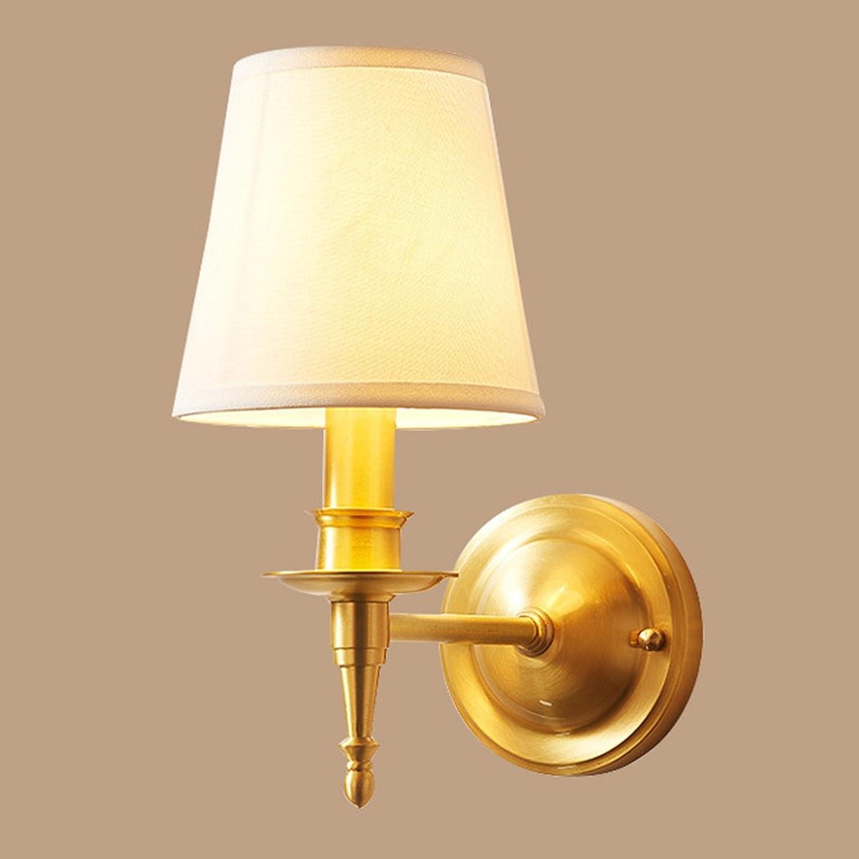 Unbekannt SKC Lighting-Wandlampe E14 Nacht Wandleuchte Europischen Vollkupfer Wandleuchte Wohnzimmer Schlafzimmer Gang Balkon Treppe Stoff Wandleuchte (gre   Einzelkopf)