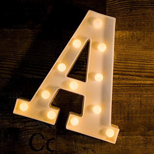 Foaky LED Letter Lights Sign Light Up Letters Sign for Night Light Wedding/Birthday Party Battery Powered Christmas Lamp Home Bar Decoration(A)