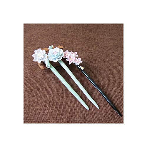Haar Sticks- Handgemaakte Keramische Bloem Eenvoudige Handgemaakte Vintage Vrouwen Haar Stick Sieraden Chinese Stijl Haarspeld Gift Haar Sieraden Perzik bloesem Groen