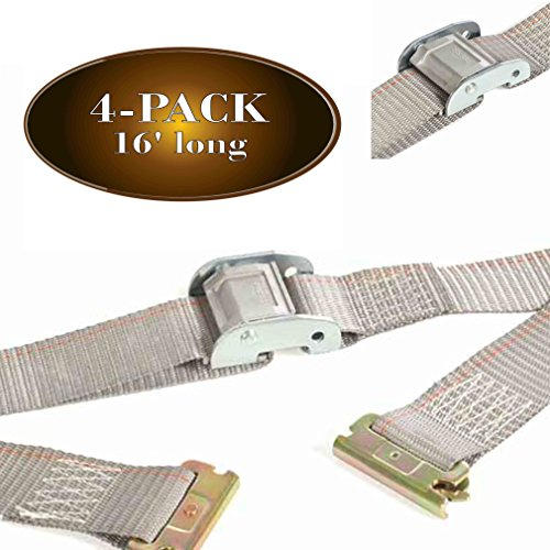 """Four 2"""" x 16' E Track Strap, Durable Cam Buckle Cargo TieDown, Heavy Duty Grey Polyester Tie-Down Cam Strap, ETrack Spring Fittings, Tie Down Motorcycles, Trailer Loads, by DC Cargo"""