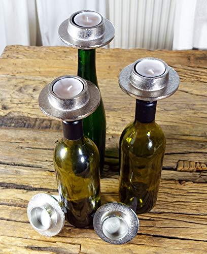 Michael Noll Kerzenhalter Bottle Flasche Weinflasche Aluminium Silber Teelicht - Kerzenständer, Kerzenleuchter aus Metall - 5er Set / 10er Set / 20er Set / 50er Set (5)