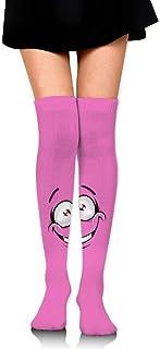 Mujeres Pink Cartoon Face Prints Calcetines de tubo sobre la rodilla Muslo Medias altas para niñas 65cm / 25.6 pulgadas