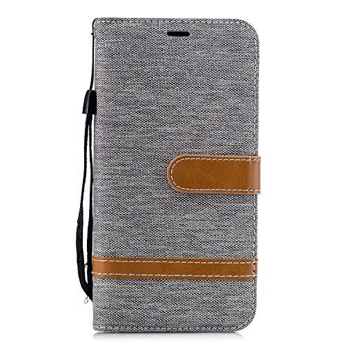 Hülle für Xiaomi Redmi 6Pro / Mi A2 Lite Hülle Handyhülle [Standfunktion] [Kartenfach] [Magnetverschluss] Schutzhülle lederhülle flip case für Xiaomi Redmi 6 Pro - DEBF031249 Grau