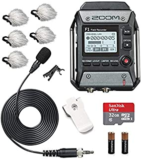 Zoom F1-LP Field Recorder & Lavalier Microphone Bundle with Movo Deadcat Windscreens (5PK) & 32GB Micro SDHC Card