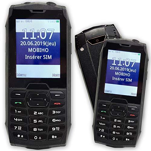 Mobiho-Essentiel Baroudeur Top 2- Seniors–IP67sólido y Protegé contra proyección de agua–Dual SIM–teclas grandes–botón SOS–Pantalla Color (mejor contraste)–números palabras Gros sobre la pantalla–Numeración rápido atajos de llamadas, teclas 2A 9–Volume hasta 90dB–SMS–MMS–fotos y video–Lámpara–fácil bloqueo del teclado–libre todos opérateurs.