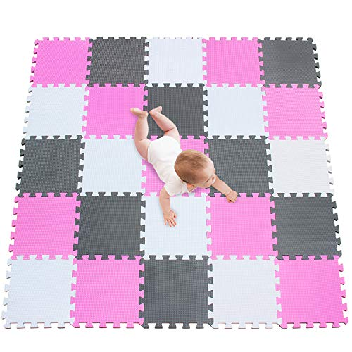 meiqicool Alfombra puzle 142 x 142cm Niños 25 Piezas Cuadrado Goma Espuma EVA,Alfombra Puzzle para Niños Bebe Infantil,esteras de Alfombra puzle para Niños Goma Espuma Blanco-Rosa-Gris