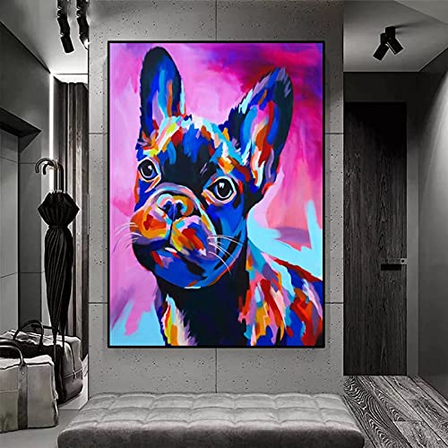 Colored French Bulldog /DIY 5D Diamond Painting Kits for Adults by Number, /Full Drill Diamond Art Picture with HD Embroidery Canvas /for Home Wall Decoration & Gift /40x50cmFrameless