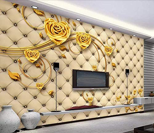 Behang 3D Mural Premium Lederen Gouden Rose 3D Mural Woonkamer Slaapbank TV Muur Slaapkamer Behang (W)350x(H)250cm (W)350x(h)250cm