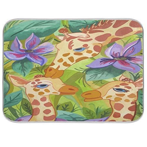Tapis de séchage pour comptoir Motif famille de girafe 40,6 x 45,7 cm Peut être plié