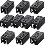 SIENOC RJ45 Ethernet Cable in-line Shielded RJ45 Coupler, Female to Female - Black (10 Packs of RJ45 Coupler)