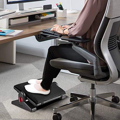 Prodigen Upgrade Adjustable Under Desk Footrest Ergonomic Foot Rest with Removable Sponge Cushion for Home, Office, Four Seasons, Tilt Angle Adjustment Non-Skid Massage Surface Comfort
