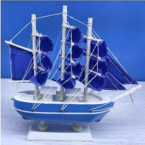 1yess Wohnzimmer Dekorationen Segelboot Modell Blaue Farbe Holz Segelboote Miniaturfiguren Geschenke Souvenirs Segeln Modell Schiff Schiff Geschenk Für Kinder und Erwachsene 8bayfa
