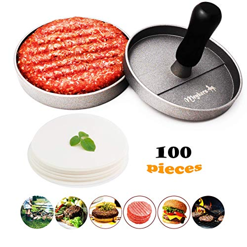 Review Meykers Burger Press 100 Patty Papers Set - Non-Stick Hamburger Press Patty Maker Mold with W...