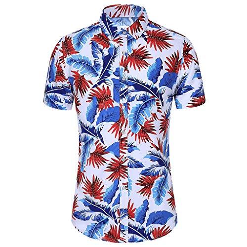 Yowablo Chemise Homme Fashion Slim Loose Hawaii Manches Courtes imprimé col Rabattu T-Shirts Tops (M,1 Multicolore)