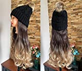 DevaLook 20' Long Synthetic Wavy Curly Ombre Hair Extensions Black Knitted Hat Wig(Black Knitted Hat + 20' Wavy Hair, Dark brown + sandy blonde)