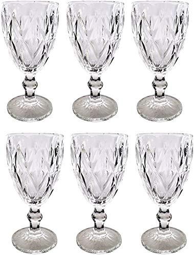 Vintage 6 Teile Set Rombus König Weinglas Glas Gläser Weingläser Wasserglas Longdrinkglas (Weinglas klar)